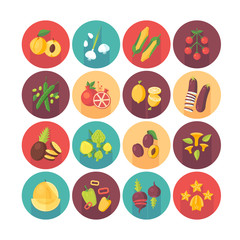Fruits and vegetables, organic vegetarian food, healthy diet icons collection. Flat vector circle icons set with long shadow. Food and drinks.