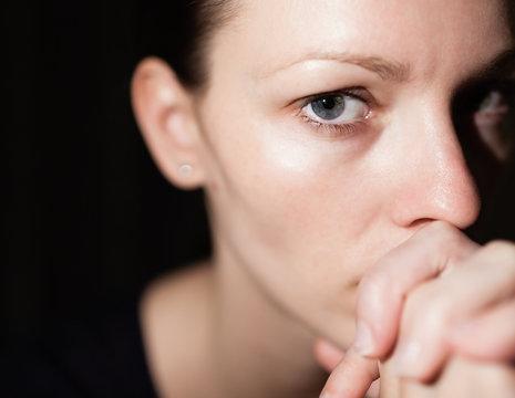 Portrait of emotional woman.