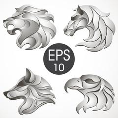 Animal logo design collection. Animal set. Lion, Horse, Eagle, Wolf