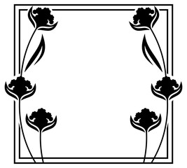Square label with black and white decorative flowers silhouettes. Copy space. Design element for your artwork. Vector clip art.