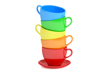 Stack of colorful cups, 3D rendering