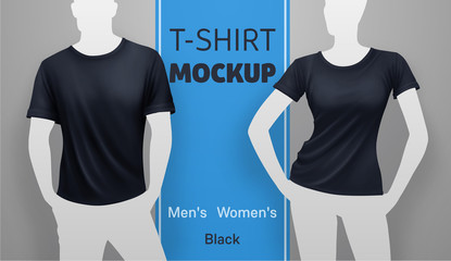 Black men and women t-shirt mockup. Vector realistic illustration
