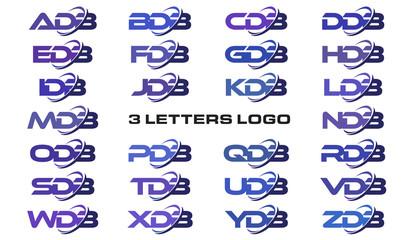 3 letters modern swoosh logo ADB, BDB, CDB, DDB, EDB, FDB, GDB, HDB, IDB, JDB, KDB, LDB, MDB, NDB, ODB, PDB, QDB, RDB, SDB, TDB, UDB, VDB, WDB, XDB, YDB, ZDB