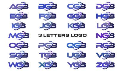 3 letters modern swoosh logo AGB, BGB, CGB, DGB, EGB, FGB, GGB, HGB, IGB, JGB, KGB, LGB, MGB, NGB, OGB, PGB, QGB, RGB, SGB, TGB, UGB, VGB, WGB, XGB, YGB, ZGB