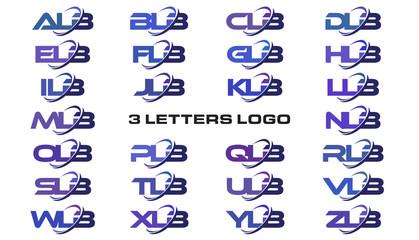 3 letters modern swoosh logo ALB, BLB, CLB, DLB, ELB, FLB, GLB, HLB, ILB, JLB, KLB, LLB, MLB, NLB, OLB, PLB, QLB, RLB, SLB, TLB, ULB, VLB, WLB, XLB, YLB, ZLB