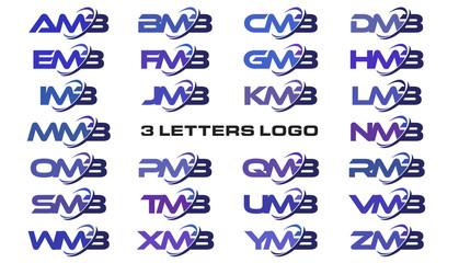 3 letters modern swoosh logo AMB, BMB, CMB, DMB, EMB, FMB, GMB, HMB, IMB, JMB, KMB, LMB, MMB, NMB, OMB, PMB, QMB, RMB, SMB, TMB, UMB, VMB, WMB, XMB, YMB, ZMB