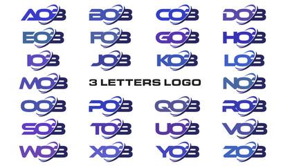 3 letters modern swoosh logo AOB, BOB, COB, DOB, EOB, FOB, GOB, HOB, IOB, JOB, KOB, LOB, MOB, NOB, OOB, POB, QOB, ROB, SOB, TOB, UOB, VOB, WOB, XOB, YOB, ZOB