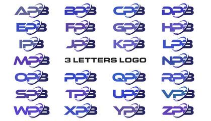3 letters modern swoosh logo APB, BPB, CPB, DPB, EPB, FPB, GPB, HPB, IPB, JPB, KPB, LPB, MPB, NPB, OPB, PPB, QPB, RPB, SPB, TPB, UPB, VPB, WPB, XPB, YPB, ZPB