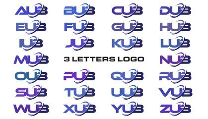 3 letters modern swoosh logo AUB, BUB, CUB, DUB, EUB, FUB, GUB, HUB, IUB, JUB, KUB, LUB, MUB, NUB, OUB, PUB, QUB, RUB, SUB, TUB, UUB, VUB, WUB, XUB, YUB, ZUB