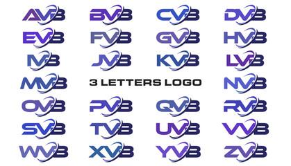 3 letters modern swoosh logo AVB, BVB, CVB, DVB, EVB, FVB, GVB, HVB, IVB, JVB, KVB, LVB, MVB, NVB, OVB, PVB, QVB, RVB, SVB, TVB, UVB, VVB, WVB, XVB, YVB, ZVB