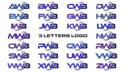 3 letters modern swoosh logo AWB, BWB, CWB, DWB, EWB, FWB, GWB, HWB, IWB, JWB, KWB, LWB, MWB, NWB, OWB, PWB, QWB, RWB, SWB, TWB, UWB, VWB, WWB, XWB, YWB, ZWB
