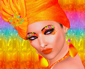 Seductive fashion and beauty image of a woman in a colorful orange outfit with matching accessories, makeup,eye shadow and more.