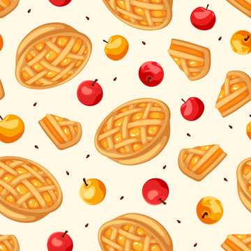 Vector seamless pattern with apple pies and apples.