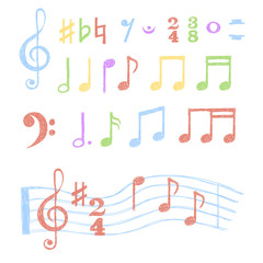 Colorful music notes set. Collection of sketch music symbols isolated on white. Vector illustration.