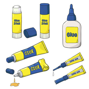 Cartoon Glue set. Vector collection of glue tubes, bottle and stick isolated on white.
