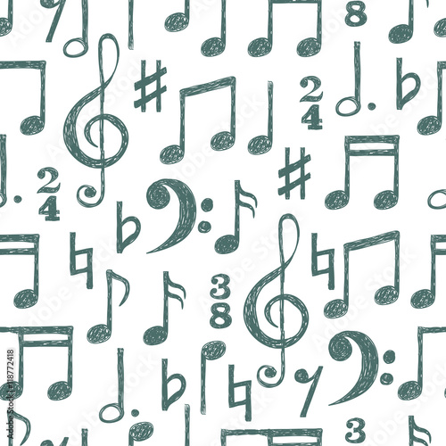 Hand Drawn Music Notes Seamless Pattern Vector Musical Background