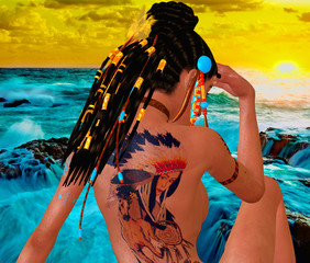 Adult woman with tattoo on back, braided hairstyle, Native American by the Ocean. 3d render digital art scene.
