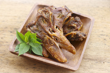 Stock Photo:.Thailand fried food platypus