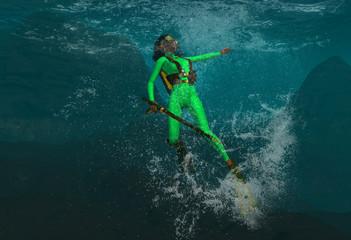 Diver Under The Ocean Waters 3d Rendering