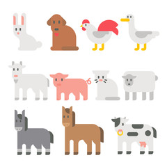 Flat design farm animal set