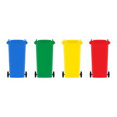 Set of trash bins flat design vector illustration
