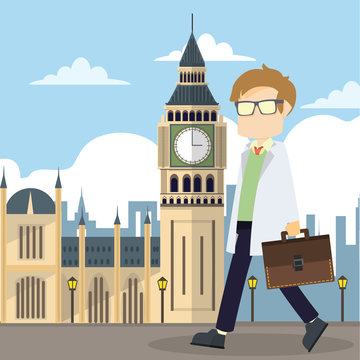 scientist walking infront big ben