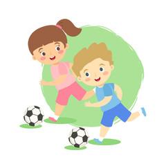 Vector illustration of kids dribbling football ball isolated on green white background.
