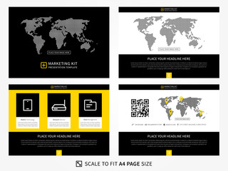 Marketing kit presentation vector template. Modern business presentation graphic design. Flat presentation template with diagrams and charts. Easy to use, edit and print.