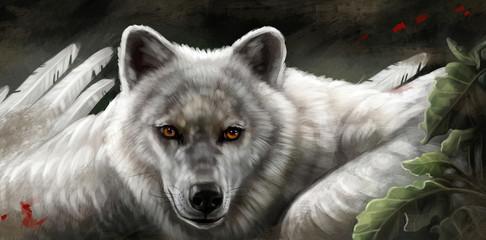 Крылатый белый волк