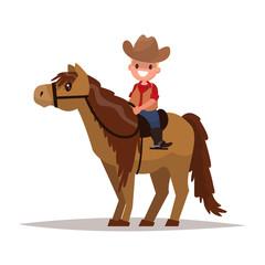 Boy cowboy on horseback. Vector illustration