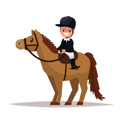 Cheerful boy jockey riding a horse. Vector illustration