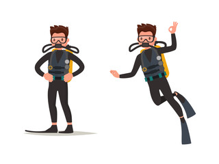 Set of diver posing and under water. Vector illustration