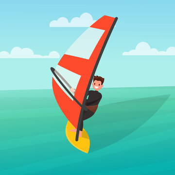 Man is engaged in windsurfing. Vector illustration