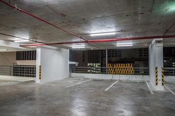 Parking garage interior neon lights at night