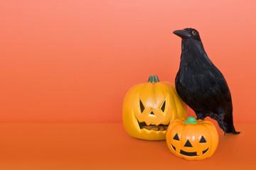 ハロウィンかぼちゃとカラス