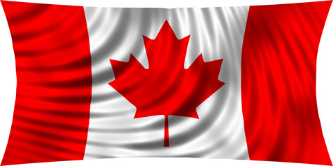 Flag of Canada waving in wind isolated on white