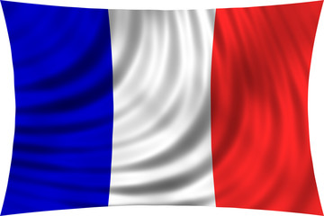 Flag of France waving in wind isolated on white