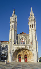 Jeronimos Monastery or Hieronymites Monastery, near the Tagus river in the parish of Belem,  Lisbon Municipality, Portugal