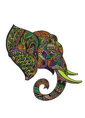 Vector illustration of a tribal totem animal - Elephant - in gra