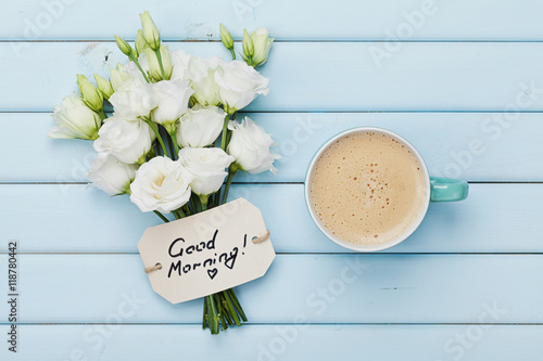 Coffee Mug With Macaron White Flowers And Notebook With To Do List
