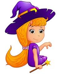 Happy witch Cartoon sitting