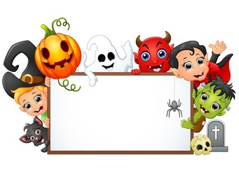 Happy Halloween character holding blank sign