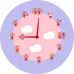 Clock with zodiac signs of monkey year. Cute vector illustration