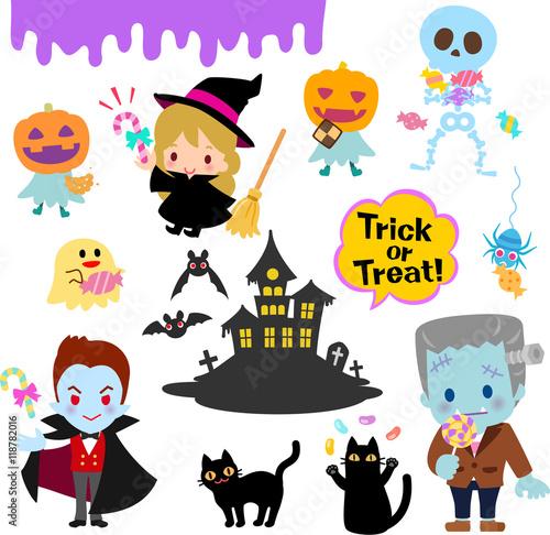 ハロウィンのキャラクターとお菓子のイラストセットfotoliacom の