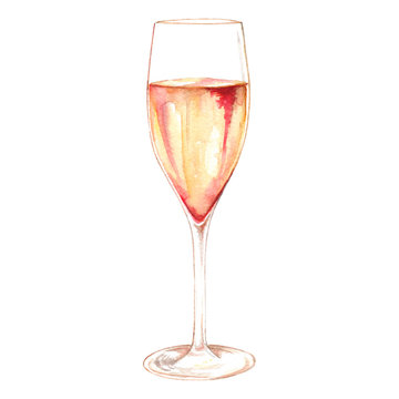 Watercolor champagne sparkling wine glass alcohol isolated