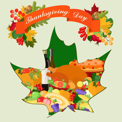 Thanksgiving card with maple leaf