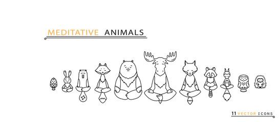 Meditative Animals - Thin line icons