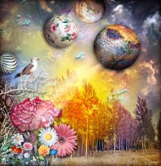 Photo sur Plexiglas Imagination Fairytales landscape with magic sunset
