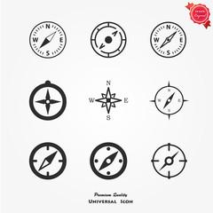 Compasses icons set