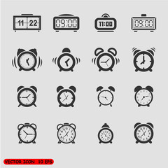 Alarm clock icons set